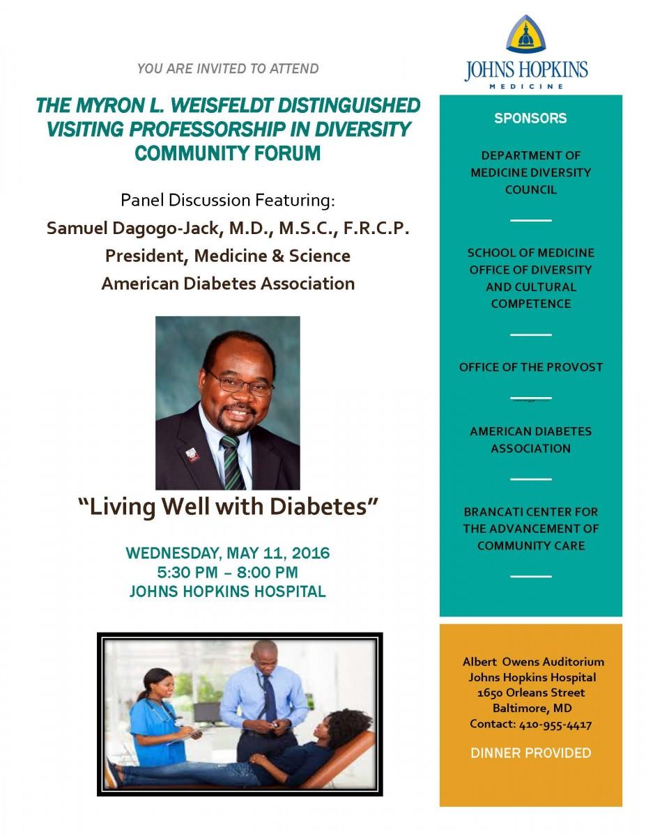 Hopkins Diabetes Community Forum Flyer