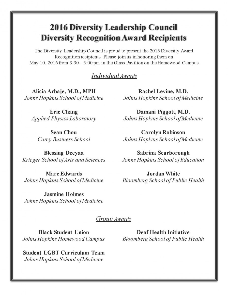2016 Diversity Awardees Flyer