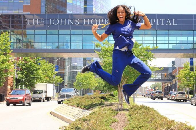 Shine Watkins from Meyer 9 jumps for joy of nursing