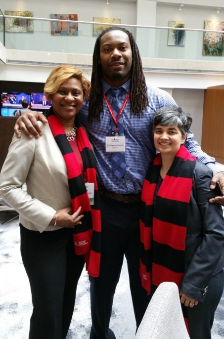 Dr. Hill-Briggs, Za'Darius Smith, linebacker, Baltimore Ravens and Member of Team Tackle, an ADA collaboration with the NFL and Dr. Maruthur