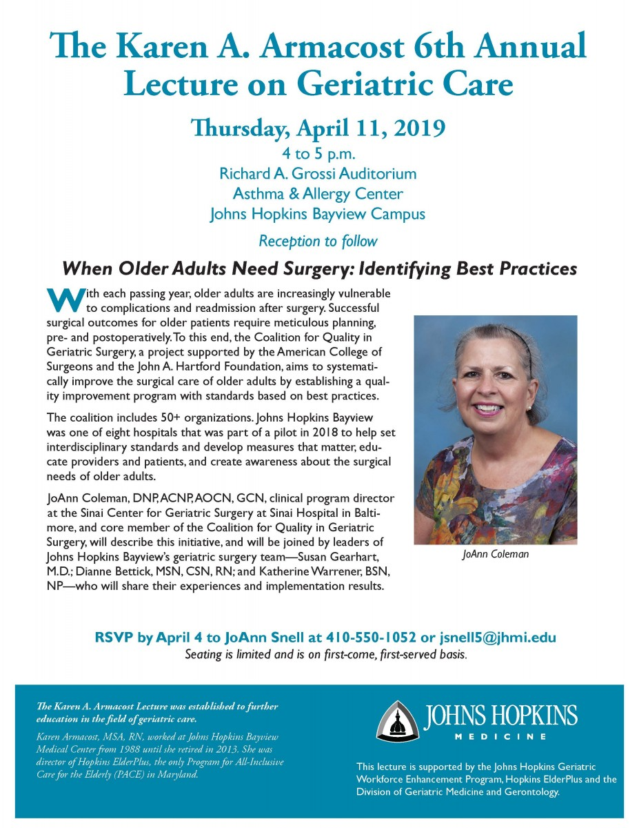 Invitation - The Karen A. Armacost 6th Annual Lecture April 11, 2019
