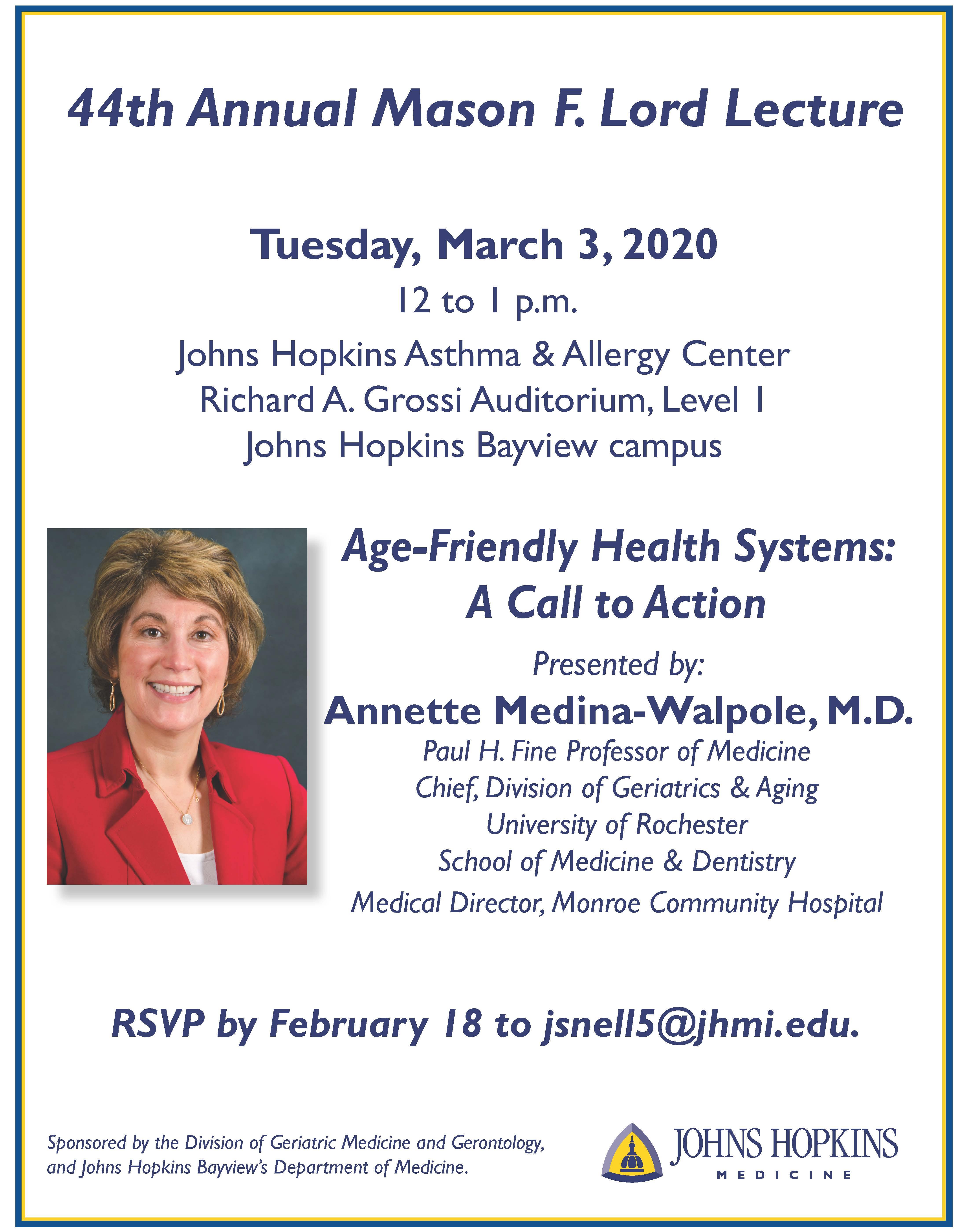 Invitation - Mason F. Lord Lecture March 3, 2020